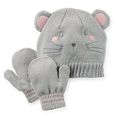 Carter's Baby Girls' Winter Hat and Mitten Set (12-24 Months, Mouse)