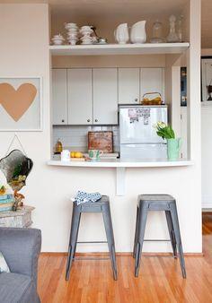 Pass through studio apartment kitchen