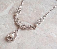 Pearl Lavalier Necklace Van Dell Sterling Silver Rhodium Filigree Wedding Bridal Vintage V0809 by cutterstone on Etsy #weddingnecklace #sterlingsilver #lavalier #pearls #rhodium #filigree #vintagejewelry