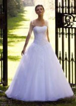 David's Bridal Wedding Dress: Strapless Tulle Ball Gown with Lace Embellishments Style WG3316