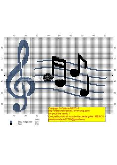 Quelques Notes ! Cross Stitch Music, Cross Stitch Charts, Cross Stitch Designs, Cross Stitch Patterns, Blackwork Embroidery, Cross Stitch Embroidery, Pixel Pattern, Needlepoint Designs, Tapestry Crochet