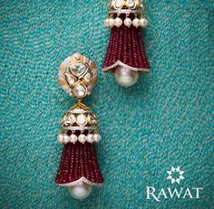 The 'Beaded Jhumkis' from our range of Fusion Earrings. Indian Jewelry Earrings, Indian Wedding Jewelry, Bead Jewellery, Pearl Jewelry, Bridal Jewelry, Beaded Jewelry, Jewelery, Gold Jewelry, Diamond Jewelry