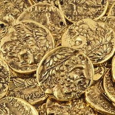 Gold Armor, Land Of The Living, Gold Money, Free Base, Gold Aesthetic, Beads Online, World Of Color, Coin Pendant, Gold Coins