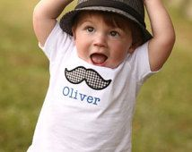 Personalized Mustache Applique Children's Shirt. Little Man Theme. First Birthday. Baby Shower