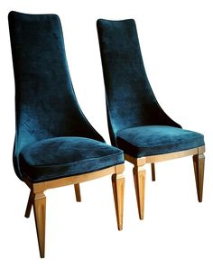 Mid-Century Teal Velvet High-Back Chairs- A Pair on Chairish.com