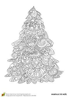 Coloriage d'un sapin mandala de Noël
