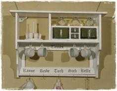 ANSOLECE  bietet hier ein wunderschönes  *Regal mit Schüttenteil*   inkl. der abgebildeten 4 Glasschütten im Shabby Style zum Kauf an.  Das...