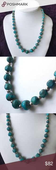 "Turquoise and Sterling beaded necklace. 16""-20"" Carolyn Pollack for QVC. Turquoise strung with 925 Sterling silver ball beads. Stamped by designer. 16"" plus 4"" extender. Wear alone or layered with other turquoise. High quality findings. This is a steal! carol pollack Jewelry Necklaces"