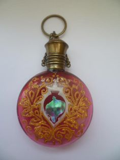 ANTIQUE CRANBERRY RED GLASS CHATELAINE PERFUME SCENT BOTTLE Circa 1880