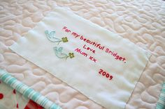 label for quilt