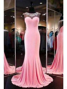 Beading Round Neck Long Mermaid  Prom Dresses Evening  Dresses  #SIMIBridal #promdresses