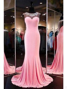 Beading Round Neck Long Mermaid  Prom Dresses Evening  Dresses  #SIMIBridal #promdresses