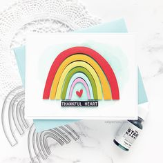 Rainbow Card, Rainbow Unicorn, Card Making Inspiration, Ink Pads, Folded Cards, Diy Cards, Homemade Cards, Cardmaking, Paper Crafts
