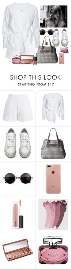 """""""White vibe. Going to the officeeee"""" by youngsmile on Polyvore featuring Chicwish, Acne Studios, Tommy Hilfiger, Belkin, MAC Cosmetics, Gucci, Urban Decay and NARS Cosmetics"""