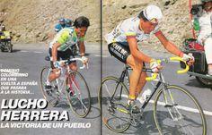Lucho Herrera. Vuelta a España 1987. ascensión a Grau-Roig en Andorra, con su inconfundible estilo donde parecia que subir no le suponía mayor esfuerzo
