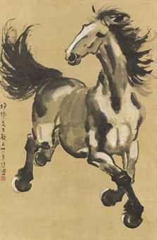 """Xu Beihong (徐悲鴻) , GALLOPING HORSE. 1932年著《画范·序》,提出""""新七法"""":①位置得宜,②比例准确,③黑白分明,④动作或姿态天然,⑤轻重和谐,⑥性格毕现,⑦传神阿堵。并指出:""""苟有以艺立身之士,吾唯以诚意请彼追寻造化,人固不足师也。"""""""