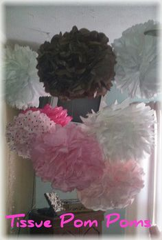 Pom Poms I made for my daughters pink and brown baby shower. They are now hanging in ARI's ROOM!