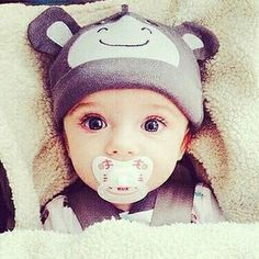 Those eyes! And the baseball pacifier! I love it all