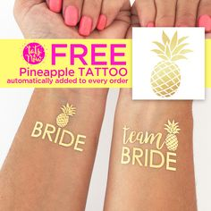 Team Bride Temporary Tattoo | Pineapple Party Theme | Spring Bachelorette Party | How to bachelorette party | Hen Party | Bride Tribe Favors | Bachelorette Party Favors | Hen Party Favor | Alternative Bachelorette Ideas