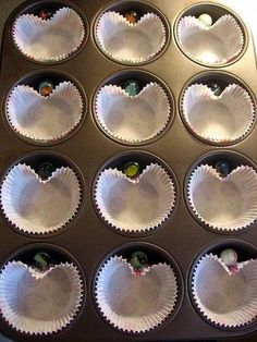 make heart cupcakes with marbles:))Cute