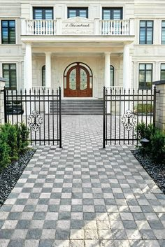 Inspired by European cobblestone roads, our Squadra paver is the perfect choice for anyone looking for a walkway design that makes a large statement! Landscape Pavers, Landscape Design, Garden Pool, Terrace Garden, Cobblestone Walkway, Deck Colors, Basalt Stone, Higher Design, Front Yard Landscaping