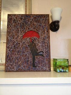 Silhouette string art.