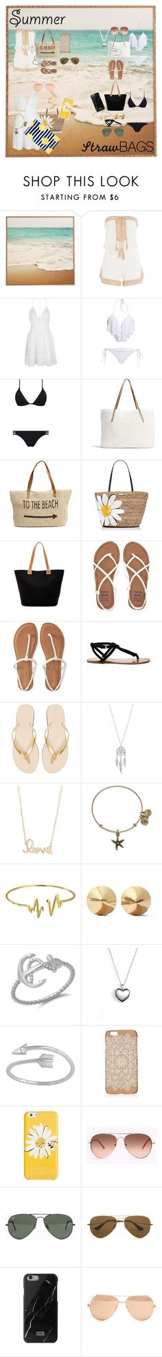 """""""Summer Straw Bag"""" by livyhiggins ❤ liked on Polyvore featuring Anna Kosturova, Topshop, Melissa Odabash, G.H. Bass & Co., Straw Studios, Kate Spade, Magid, Billabong, Aéropostale and Sole Society"""