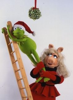 Christmas photo card with Kermit and Miss Piggy, The Muppets
