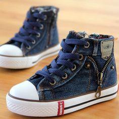 Canvas Sneakers Boys/Girls Denim Side Zipper - almajvirtualsolutions - A touch of Class