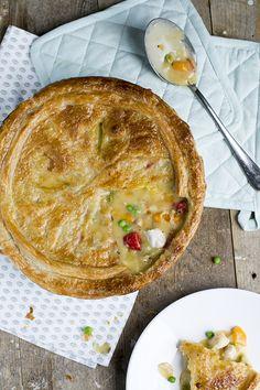 chicken pot pie - kippenpastei gemaakt met bladerdeeg
