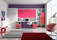 Habitacion cama Abatible en Blanco Fucsia y Rojo