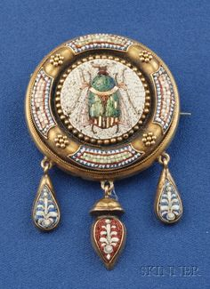 Antique 18kt Gold and Micromosaic Brooch, Rome, the polychrome tesserae depicting a fly, suspending pendants with foliate devices, lg. 2 in....