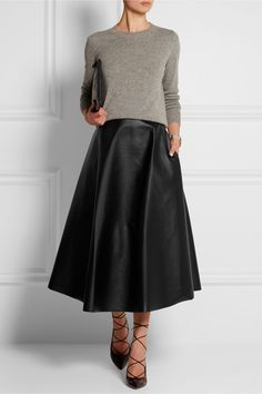 Lanvin | Fluted faux leather midi skirt | NET-A-PORTER.COM