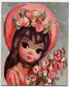Etsy Transaction - Vintage 'Easter Bonnet Pink' by Jean Maio--Big Eyed Girl Small Litho Card in Plastic Frame