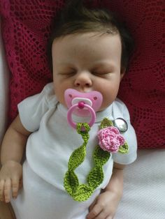 NEW; Pacifier Holder Pink Rose by TeenyWeenyDesign/Adrianne, via Flickr