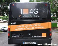 Rotulación Orange 4G. Contacta con nosotros en el 922 646 824 o vía email a mailto:comercial@... #publiservic #rotulacion #autobus Tenerife, Santa Cruz, Advertising, Teneriffe