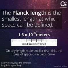 The Planck length is the theoretical length at which the laws of space-time begin to unravel. It's orders of magnitude smaller than a proton, and unable to be physically measured by any equipment available today. It's defined by three constants: the gravi Astronomy Facts, Astronomy Science, Space And Astronomy, Earth Science, Science Nature, Theoretical Physics, Quantum Physics, Moon Facts, Beatitudes