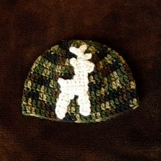 Camouflage beanie with young deer, newborn to child sizing - $22 plus shipping  http://facebook.com/crosswesterncrochet