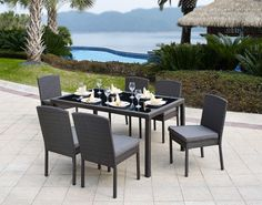 GARDEN RATTAN OUTDOOR PATIO SET DINING TABLE AND CHAIRS FURNITURE CONSERVATORY