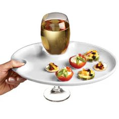 The Wine and Dine Party Plate features a handy wine glass holder in one side so you can always keep one hand free to enjoy your food and drink.  sc 1 st  Pinterest & Round Appetizer Plates with Wine Glass Holder | Pinterest | Wine ...