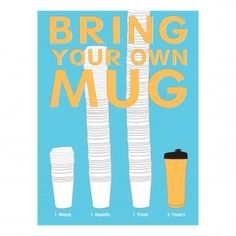 Bring Your Own Mug Poster | A poster convincing viewers not to do something that is a current problem in society. | Designers: