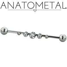 - Gemmed Industrial Bars - ANATOMETAL - Professional Grade Body Piercing Jewelry ~ These barbells are drilled from the side for a different angle on industrial piercings and the like! Each hole is spaced 5mm apart and can be ordered with one or as many as can fit.
