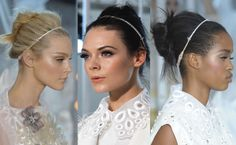 Love the Louis Vuitton messy chignon held back with a sparkly headband.