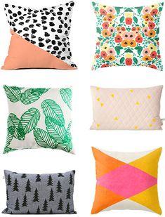 colorful modern throw pillows // Little White Whale