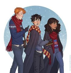 The golden trio  Harry, Ron and Hermione