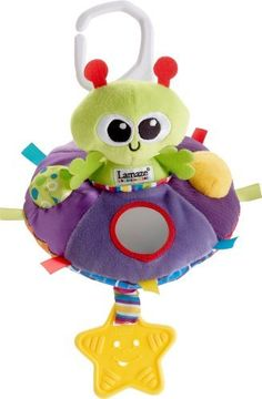 Lamaze Adrian the Alien Play and Grow Toy by TOMY. $9.08. From the Manufacturer                Adrian is full of out of this world fun. This loveable alien comes equipped with a rattle, crinkle, squeaker, and a mirror to keep baby engaged. Adrian's spaceship holds a special treat a teething star is attached to the bottom to soothe baby's gums. It features rattle, crinkle, squeaker, and a mirror to keep baby engaged. It comes with a portable clip. Lamaze makes a g...