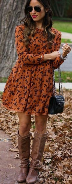 how to mix knee lenght boots with a flared dress