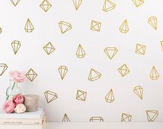 Geometric Wall Decals - 48 Prism Decals, Unique Vinyl Wall Decal Set, Gold Decals & Decor Great for Gifts and More! Baby Wall Decals, Removable Wall Decals, Nursery Wall Decals, Vinyl Wall Decals, Wall Stickers, Girls Princess Bedroom, Princess Girl, Girl Bedroom Walls, Triangle Wall