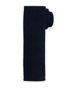 TOM FORD Silk Knit Flat-End Tie, Navy. #tomford #