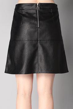 Jupe noire simili-cuir Daphnée Sinéquanone sur MonShowroom.com